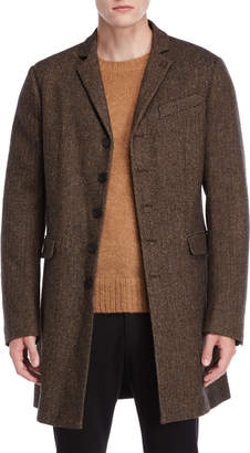 Patrizia Pepe Herringbone Single-Breasted Overcoat