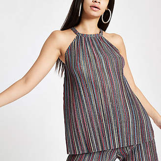 River Island Womens Purple metallic stripe halter neck cami top