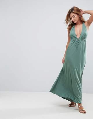 Asos Design DESIGN Tie Front Plunge Jersey Maxi Beach Dress