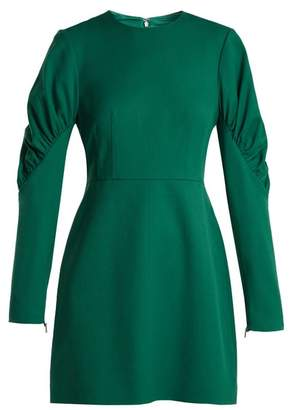 Tibi Florence Gathered Sleeve Mini Dress - Womens - Green