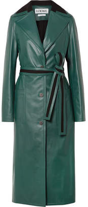 Loewe Oversized Paneled Leather Coat - Green