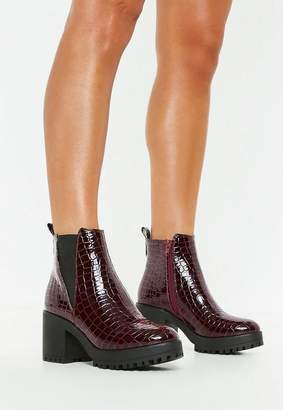 Missguided Burgundy Croc Chunky Chelsea Ankle Boot