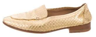 The Row Metallic Adam Snakeskin Loafers
