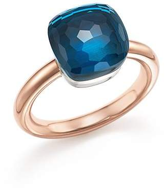 Pomellato Nudo Classic Ring with London Blue Topaz in 18K Rose Gold and White Gold