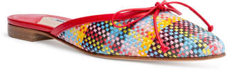 Manolo Blahnik Ballerimu 10 Red Multicolor Plaid Mule Flats