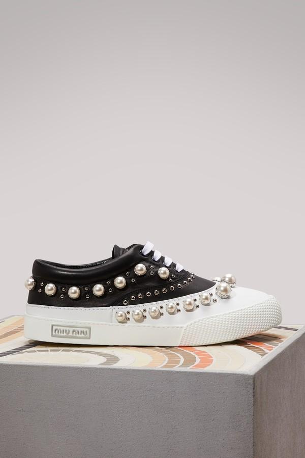 Miu Miu Bi-color leather sneakers