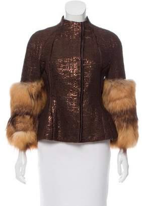 J. Mendel Fox Fur-Trimmed Brocade Jacket