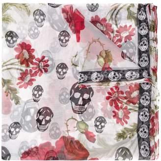 Alexander McQueen floral skull print scarf
