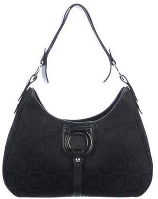 Salvatore Ferragamo Leather-Trimmed Gancini Hobo Black Leather-Trimmed Gancini Hobo