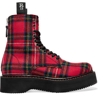 R 13 Tartan Canvas Ankle Boots - Red