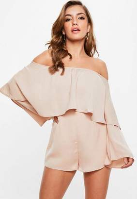 Missguided Nude Bardot Double Layer Playsuit, Nude
