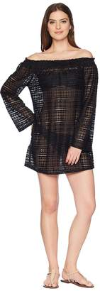 Kenneth Cole To The Beat Off the Shoulder Elastic Bell Sleeve Dress Cover-Up Women's Swimwear