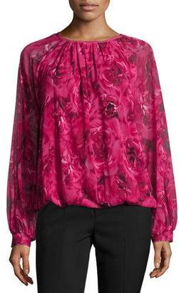 Fuzzi Ruched-Neck Rose-Print Blouse, Purple $565 thestylecure.com