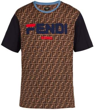 Fendi Mania Logo Print Cotton Jersey T Shirt - Mens - Brown Multi