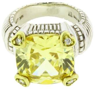 Judith Ripka 18K Yellow Gold And Sterling Silver Diamond & Canary Crystal Ring