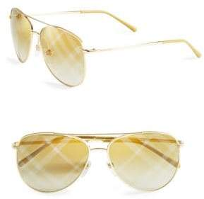 Burberry 57MM London House Check Foil Aviator Sunglasses