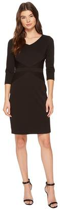 Ellen Tracy Ponte Career Dress with Sleeves Women's Dress