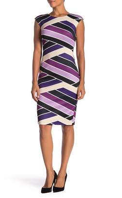 Vince Camuto Cap Sleeve Print Scuba Dress