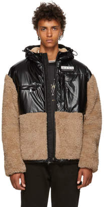 Alexander Wang Khaki and Black Coated Sherpa Jacket