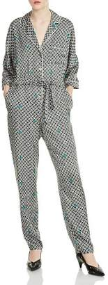 Maje Punsh Printed Pajama-Style Silk Jumpsuit