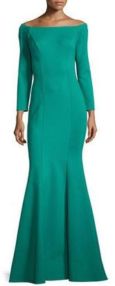 Jovani Off-the-Shoulder Ponte Mermaid Gown, Green $600 thestylecure.com