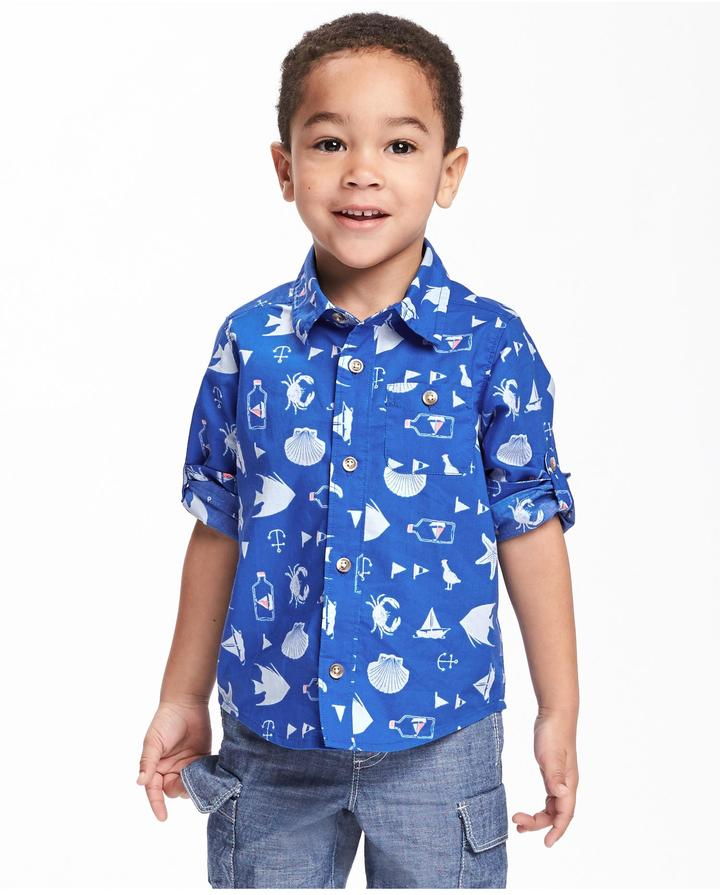 Old Navy Nautical Print Roll Up Shirt For Toddler Boys