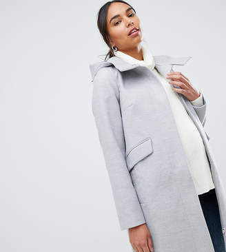 Asos Hooded Slim Coat with Zip Front