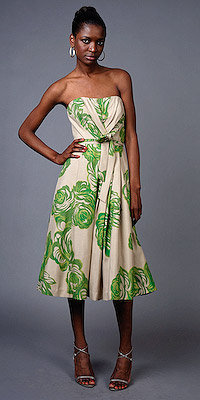 Lime Rose Strapless Dresses by Tracy Reese