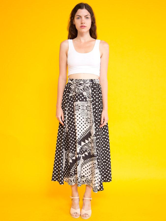 American Apparel Vintage Mixed Prints Long Silk Skirt