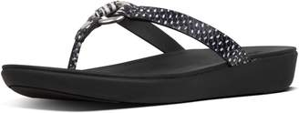 FitFlop Hoopla Dotted-Snake Leather Toe-Thongs