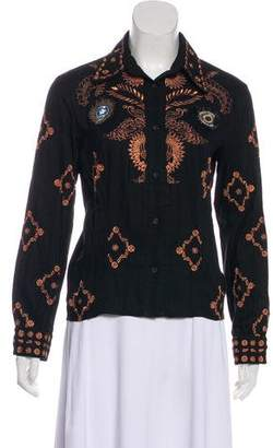 Just Cavalli Embroidered Button-Up Top