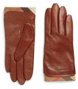 Burberry  Burberry Housecheck-Trim Leather Gloves