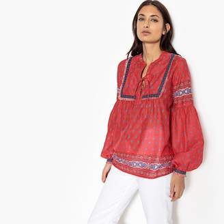 Pepe Jeans Embroidered Folk Style Blouse with Puff Sleeves
