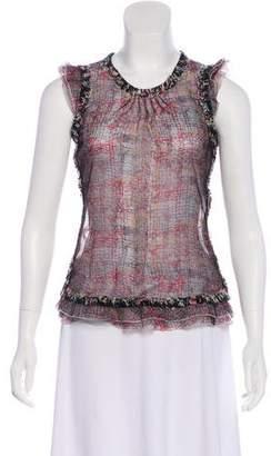 Chanel Silk-Blend Splatter Print Top