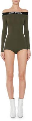 Palm Angels Tape Off-Shoulder Logo Long-Sleeve Bodysuit