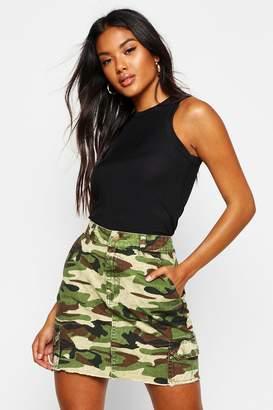 boohoo Camo Print Denim Mini Skirt