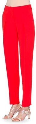 Giorgio Armani Slim-Leg Silk-Cady Pants, Scarlet $2,000 thestylecure.com