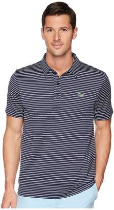 Lacoste Short Sleeve Jersey Raye w/ Fine Stripes Button Front Placket Men's Short Sleeve Pullover