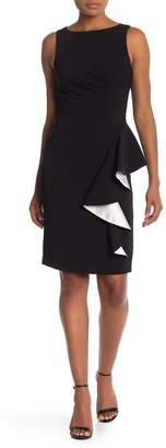 Carmen Marc Valvo Solid Crepe Ruffle Front Sheath Dress