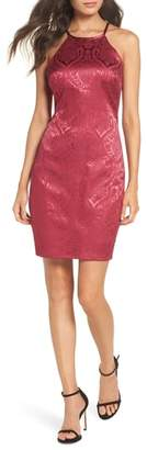 Sequin Hearts Satin Jacquard Cocktail Sheath