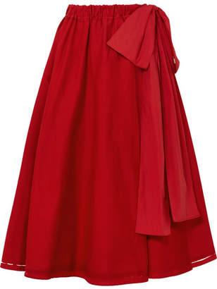 Prada - Bow-embellished Printed Stretch-denim Midi Skirt - Red