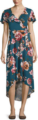 BY AND BY by&by Short Sleeve Floral Fit & Flare Dress-Juniors