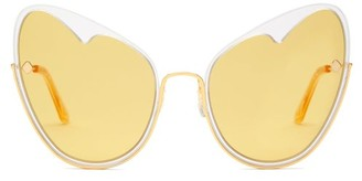 Atelier Moy Naked Heart Cat Eye Gold Plated Sunglasses - Womens - Yellow