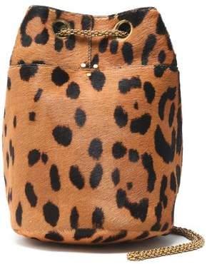 Jerome Dreyfuss Leopard-Print Calf Hair Bucket Bag