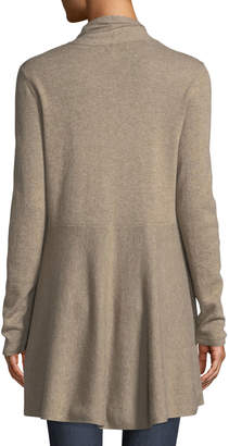 Neiman Marcus Cashmere Open-Front Flared Cardigan, Tan