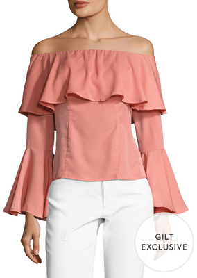 Flared Sleeve Off The Shoulder Top $84 thestylecure.com