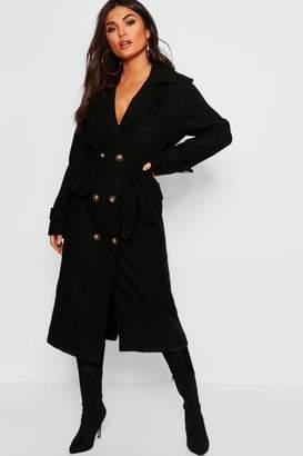 boohoo Longline Belted Pocket Wool Look Coat