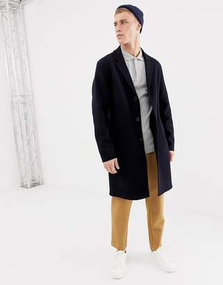 Selected hand stitched wool overcoat