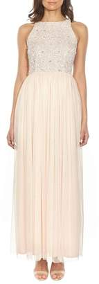 LACE & BEADS Picasso Embellished Bodice Maxi Dress
