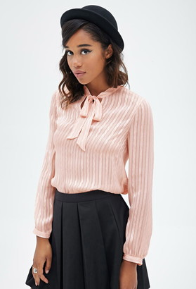 FOREVER 21 Sheer Checkered Striped Blouse $19.90 thestylecure.com